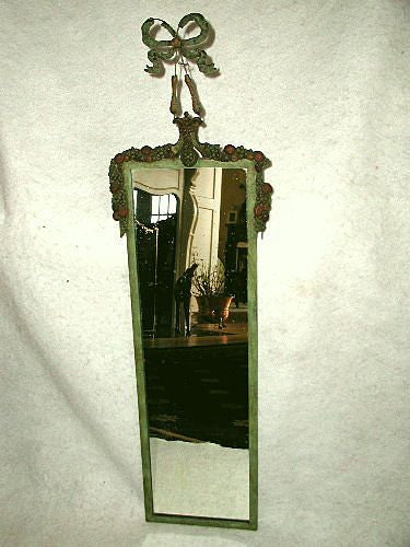 Carved french mirror C.1820-30 garland bow on wire