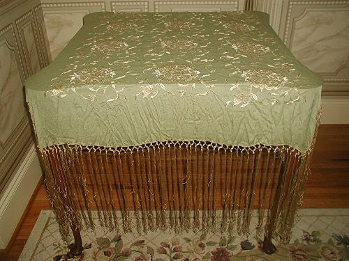 Silk Piano Throw with Silk Macrame Gorgeous Fringe Early 1900's