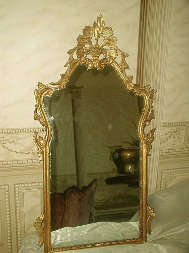 Italian Giltwood Mirror Carved C.1900