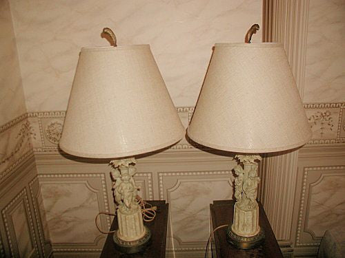 Bisque Cherub Lamps France Linen Shades Early 1900's