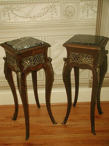 Marble Pedestal Tables France Mid 19th C Bronze Mounts Inserts