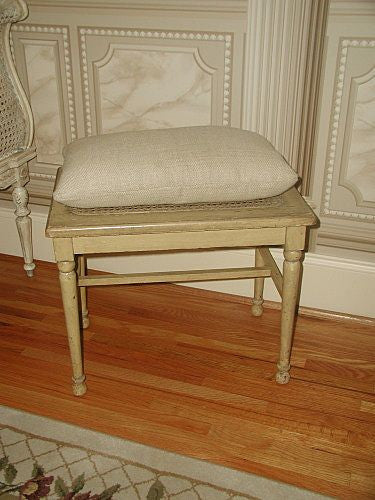English Caned Bench Original Paint With Pillow 19th Century