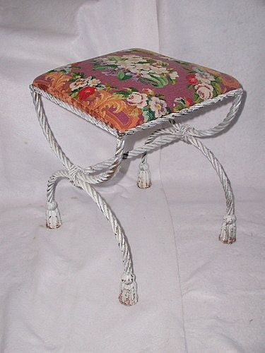 Needlepoint Stool Bench Italian Metal Rope Tassel Early 1900's