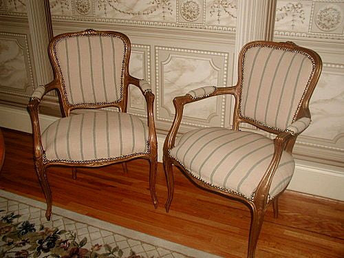 Carved French Chairs Fruitwood Early 1900's Newly Upholstered