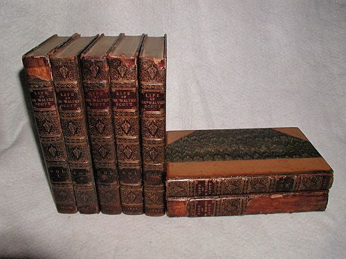Walter Scott Memoirs England C.1837 7 Volumes Illustrations Leather Bound