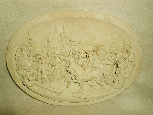 Old Plaster Plaque Roman High Relief Early 1900's