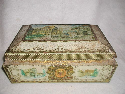 Scottish Tin Box Hand Painted Scenes Large C.1900