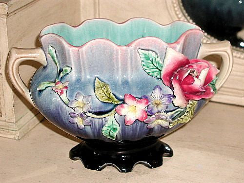 French Majolica Vase C.1900 Signed Applied Floral Hand Painted