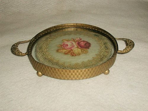 Vanity Dresser Tray Petite French 19th C.Petti-Point Brass