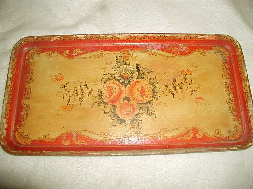 Papier Mache Tray Vibrant Coloring Early 1900's Hand Painted