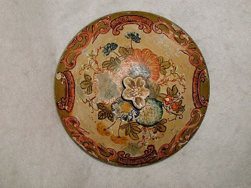 Papier Mache Lid Italian Hand Made Painted 19th Century Wall Hanging