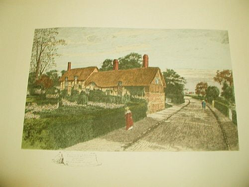 English Engraving Ann Hathaway's House C.1900 Hand Colored