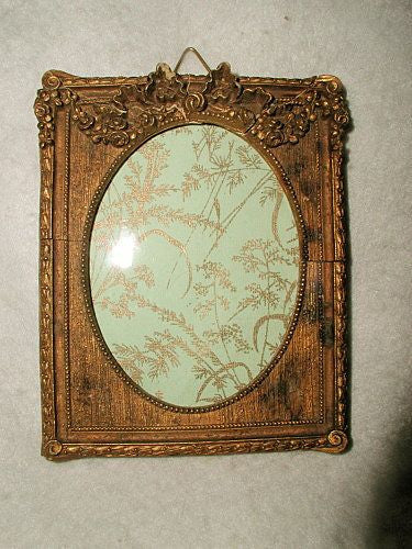 Gilt Wooden Frame With Glass 19th C France Carved Header