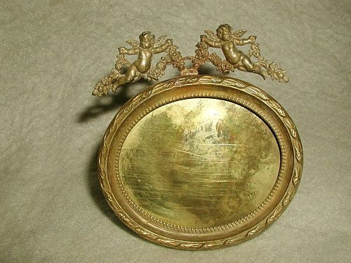 French Brass Frame Oval Solid 19th Century