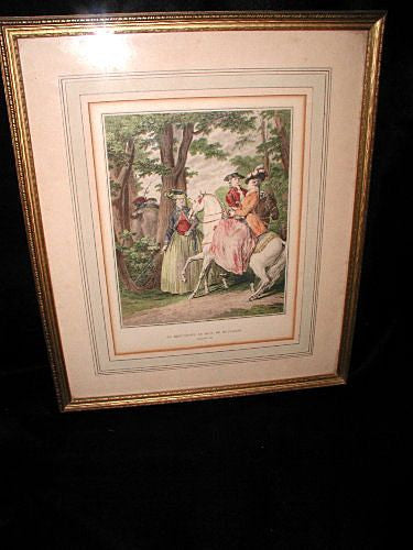 Framed French Engraving 19th Century Vivid Hand Colored