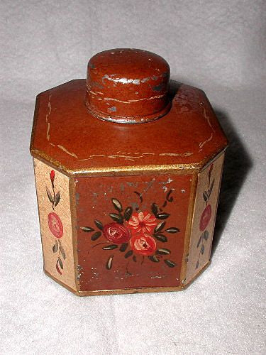 Belgium Tole Box Hand Painted Hexagonal C.1880