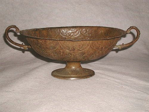 Italian Bowl Planter Large Classical Footed Dual Handles Hand Made Early 1900's