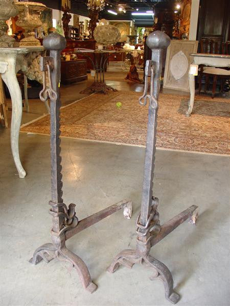 17th Century Hand Forged Andirons from France