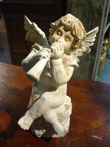 Painted Cast Iron Musical Cherub from France-Flute