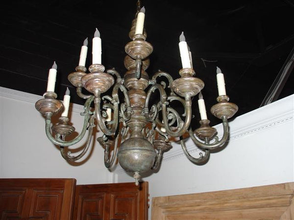 Polychromed Wood and Iron 12 Arm Chandelier