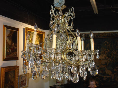 10 Light Bronze Chandelier with Antique Crystals from France