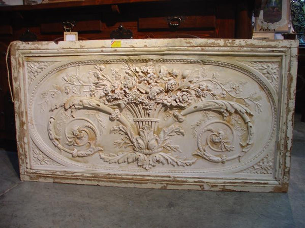 Architectural Overdoor Panel from France-Plaster Bas Relief, Wood Frame
