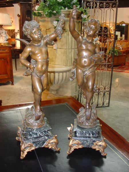 Pair of French Spelter Cherub Figures with Bronze Patina Mounted to Marble Bases