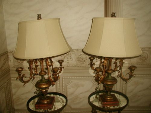 Italian candelabra lamps very early 1800's hand carved rewired