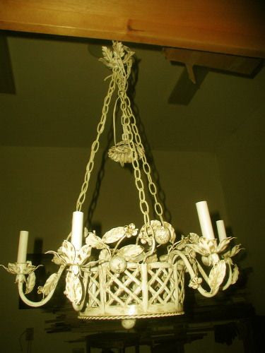 Wrought iron chandelier early 1900's rewired unusual
