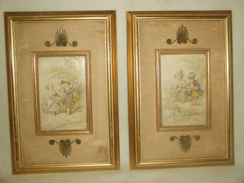 Pair French etchings 19th century unique silk matting