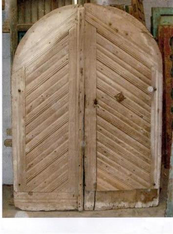 Pair of Arched Antique Farm Doors from France