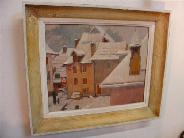 Signed Oil Painting Depicting Snowy Mountain Village Scene