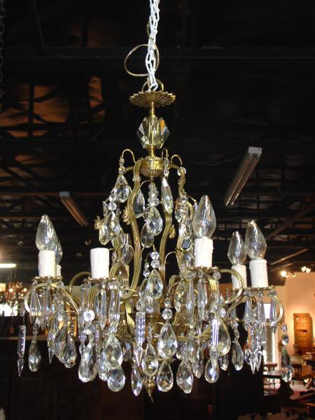 European Eight Light Crystal and Bronze Chandelier (US Wired)
