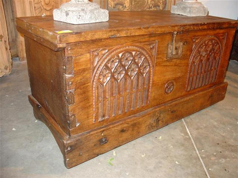 18th Century Gothic Trunk-Chestnut Wood