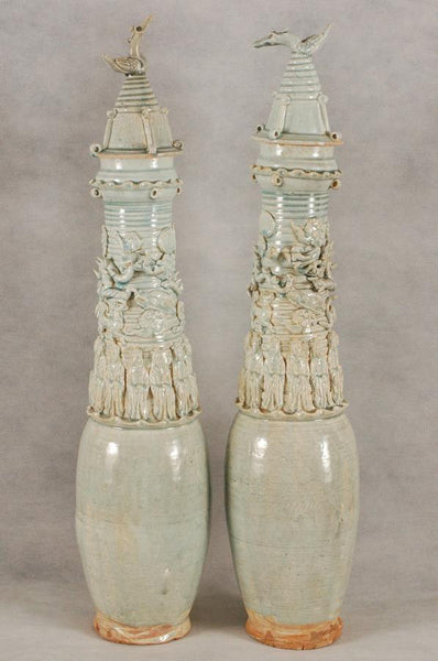Pair of Chinese Song Dynasty Qingbai Jar w Dragon , 1000 AD
