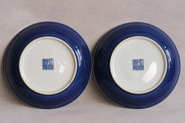 Masterpiece Pair of Chinese Qing Plates Qianlong Mark & Period