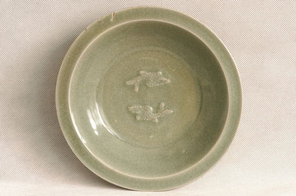 Chinese Song Dynasty Longquan Celadon Dish w Fish , 1000 AD