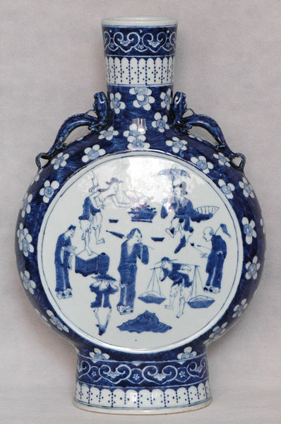 Huge Chinese Qing Blue and White Moon Flask Daoguang , 19C