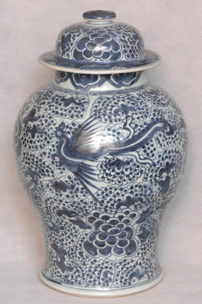 Large Chinese Qing Blue and White Porcelain Jar Qianlong , 18C