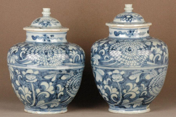 Pair of Chinese Ming Blue and White Porcelain Jar , 17C