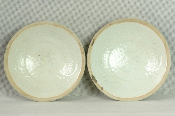 Pair of Chinese Song Qingbai Plate w Boys , 1000 AD