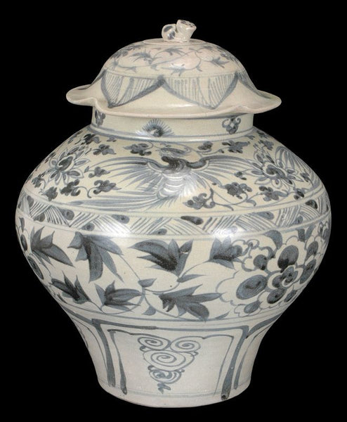 Masterpiece Chinese Yuan Blue and White Porcelain Jar, 13C