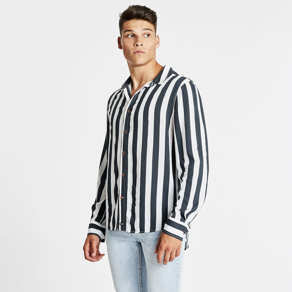 Bombay Standard Long Sleeve Shirt Blue/White Stripe
