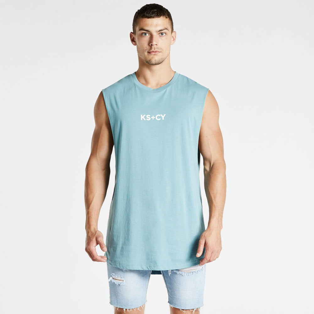 Deeper Dual Curved Muscle Tee Smoke Blue