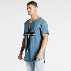 Freemont Raw V-Neck T-Shirt Pigment Ocean Blue