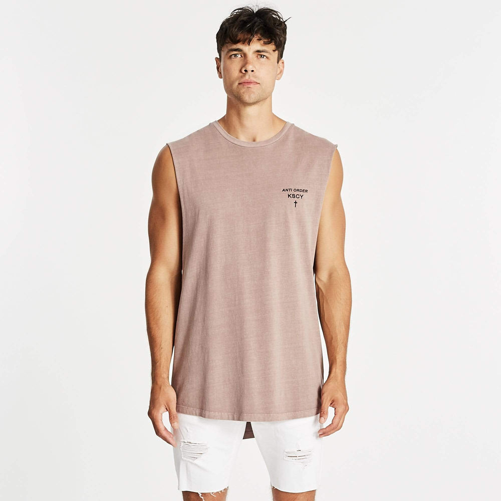 Plymouth Dual Curved Muscle Tee Pigment Mauve