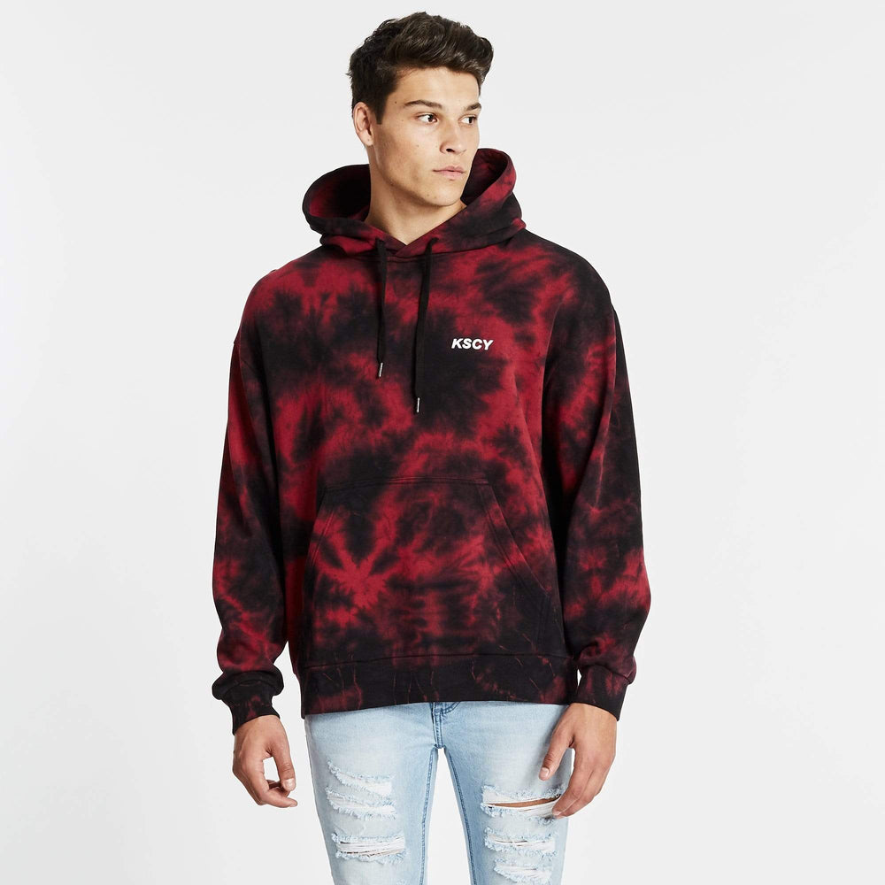 Reflection Relaxed Fit Hoodie Tie Dye Red/Black