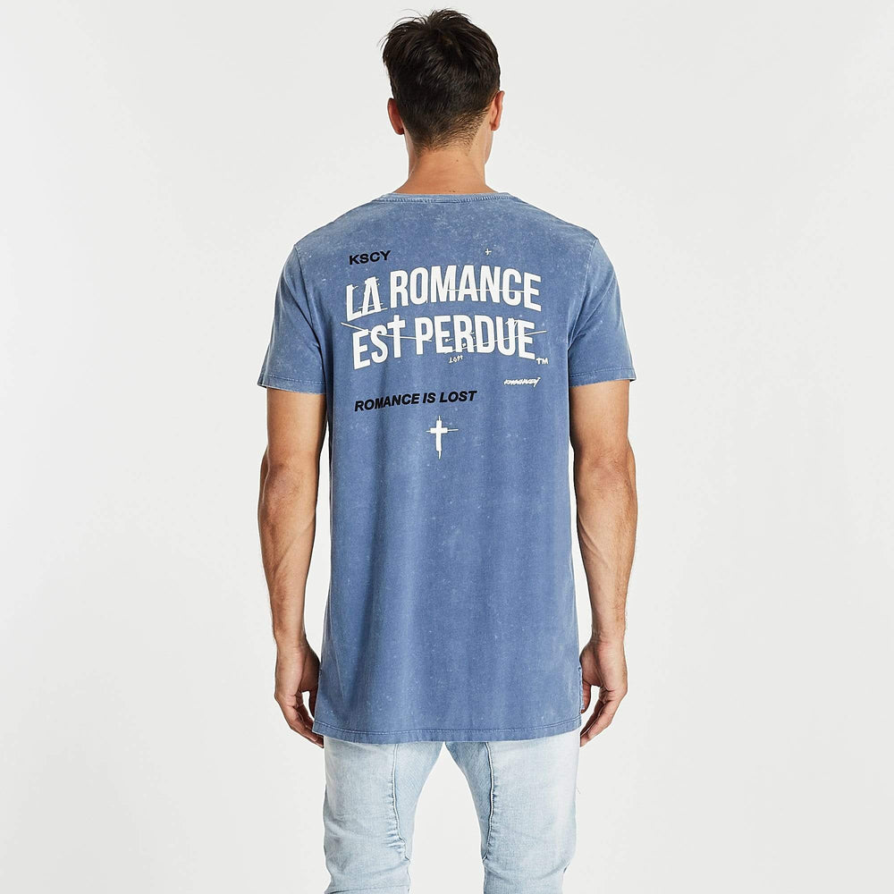 Romantic Step Hem T-Shirt Acid Blue