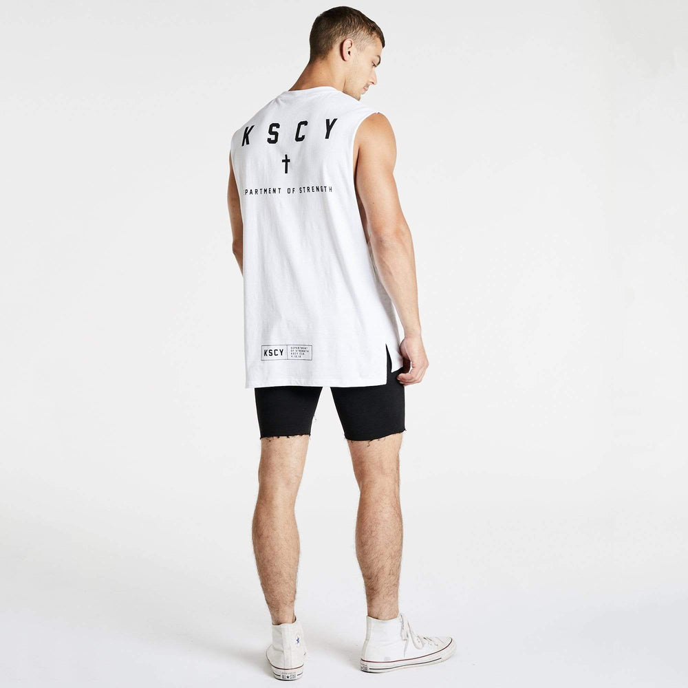 Stronger Step Hem Muscle Tee White