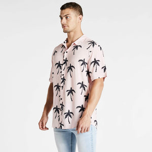 Tropico Relaxed Short Sleeve Shirt Pink/Black Print
